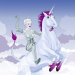 Drawing of woman riding unicorn.