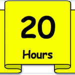 "Graphic of gold banner with ""20 Hours"" written on it"