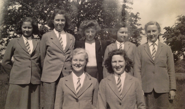 Old black and white photo of college women