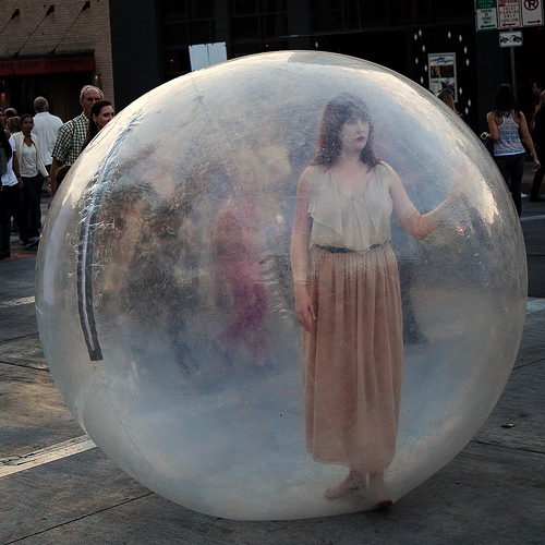 Photo of girl in plastic bubble