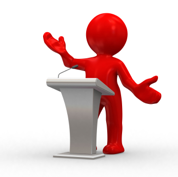 Graphic of presenter and lectern