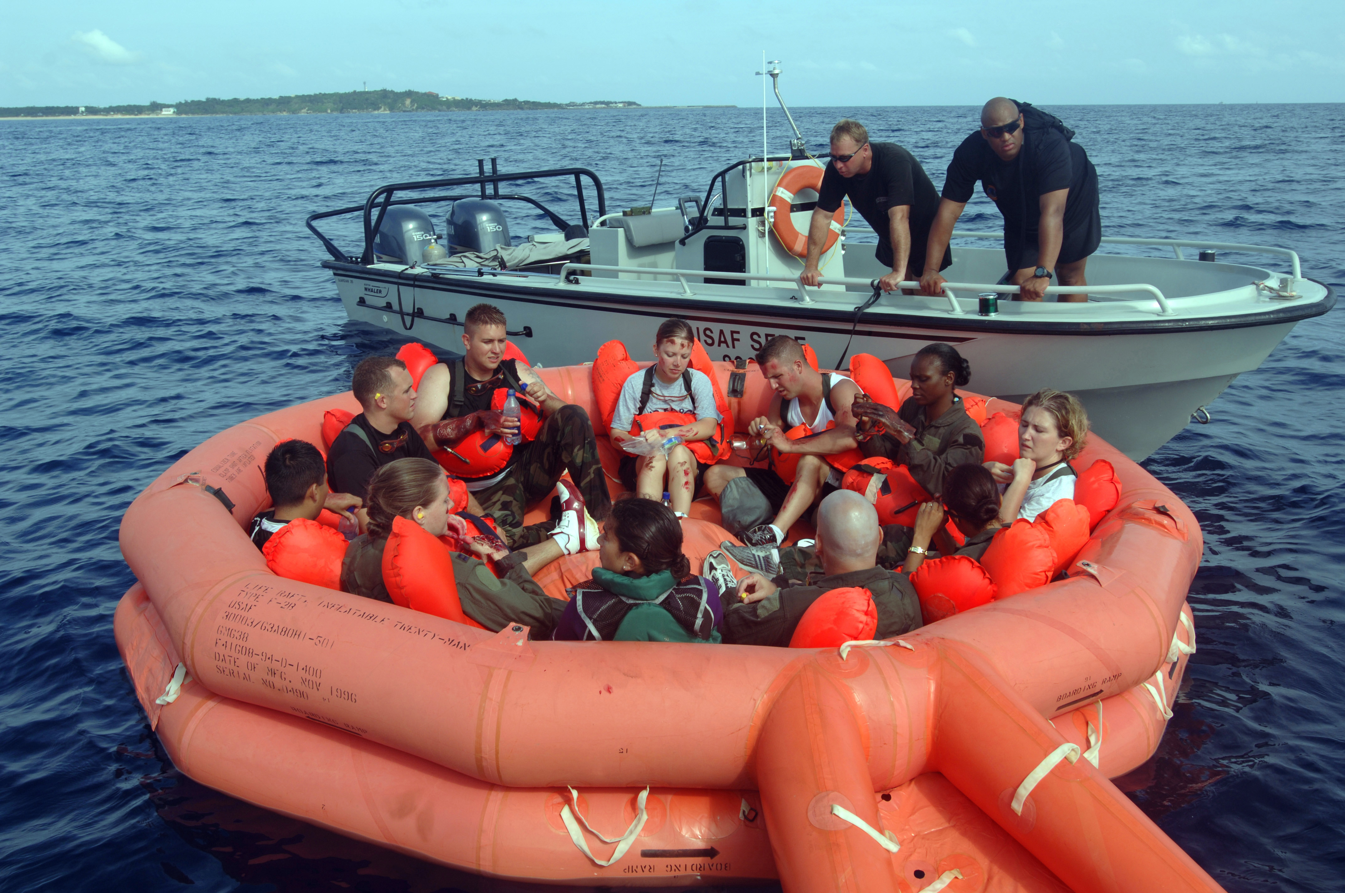 Photo of people in a life raft