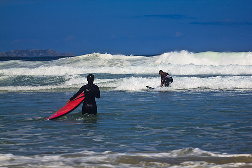 Photo of two people surfing