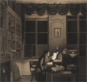 19th century drawing of man at desk