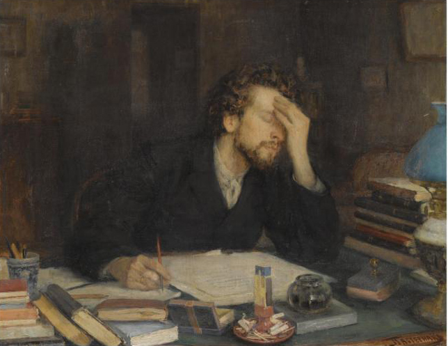 Painting of male writer holding his head in frustration